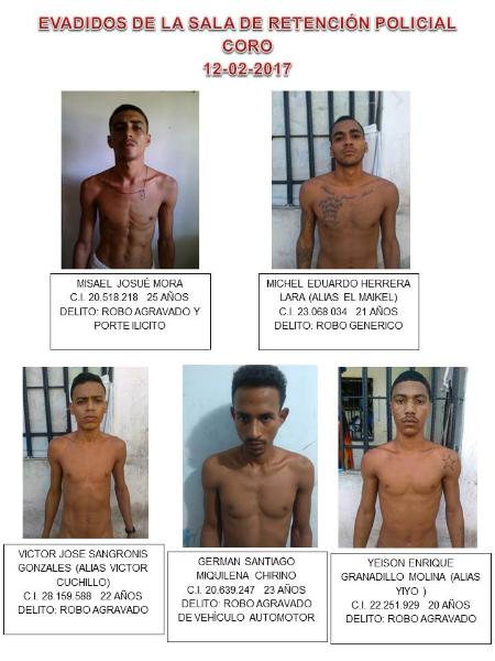 Cinco peligrosos delincuentes se evaden de Polifalcón