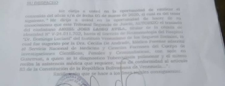 Tribunal notifica dos meses después sobre orden de atención médica para recluso con tuberculosis en Poliplaza
